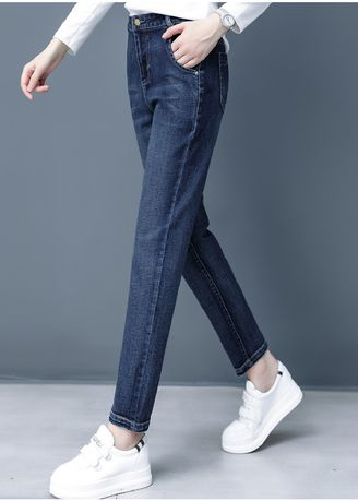 Blue color Jeans . Jin Yi Lai Ms Female Foot High Waist Stretch Jeans -