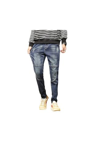 Blue color Jeans . Men's Cultivate  Logo Loose Bunch Of Foot Blue Harlan Jeans  -