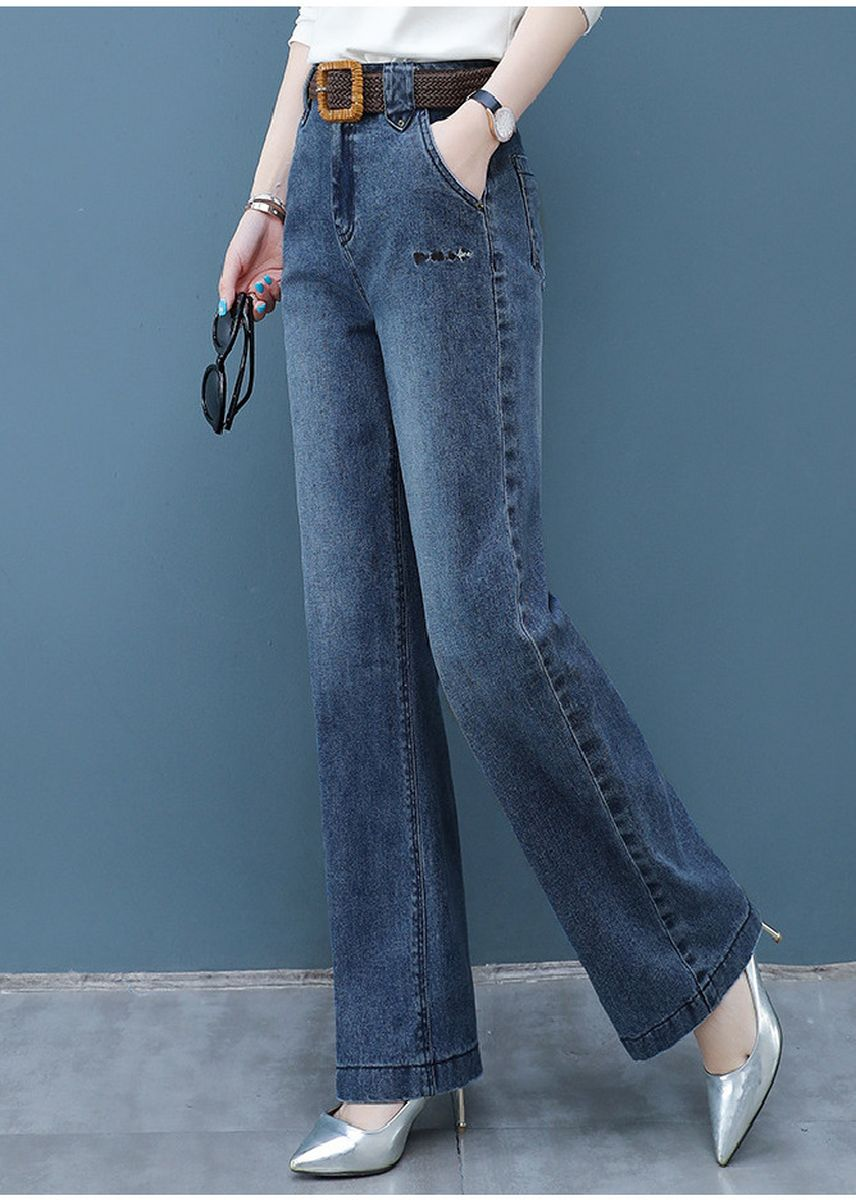 Blue color Jeans . Jin Yi Lai The New Big Yards Loose Wide Leg Pants -