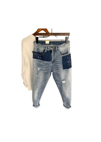 Blue color Jeans . Morality Trend Patched Men's Pants -