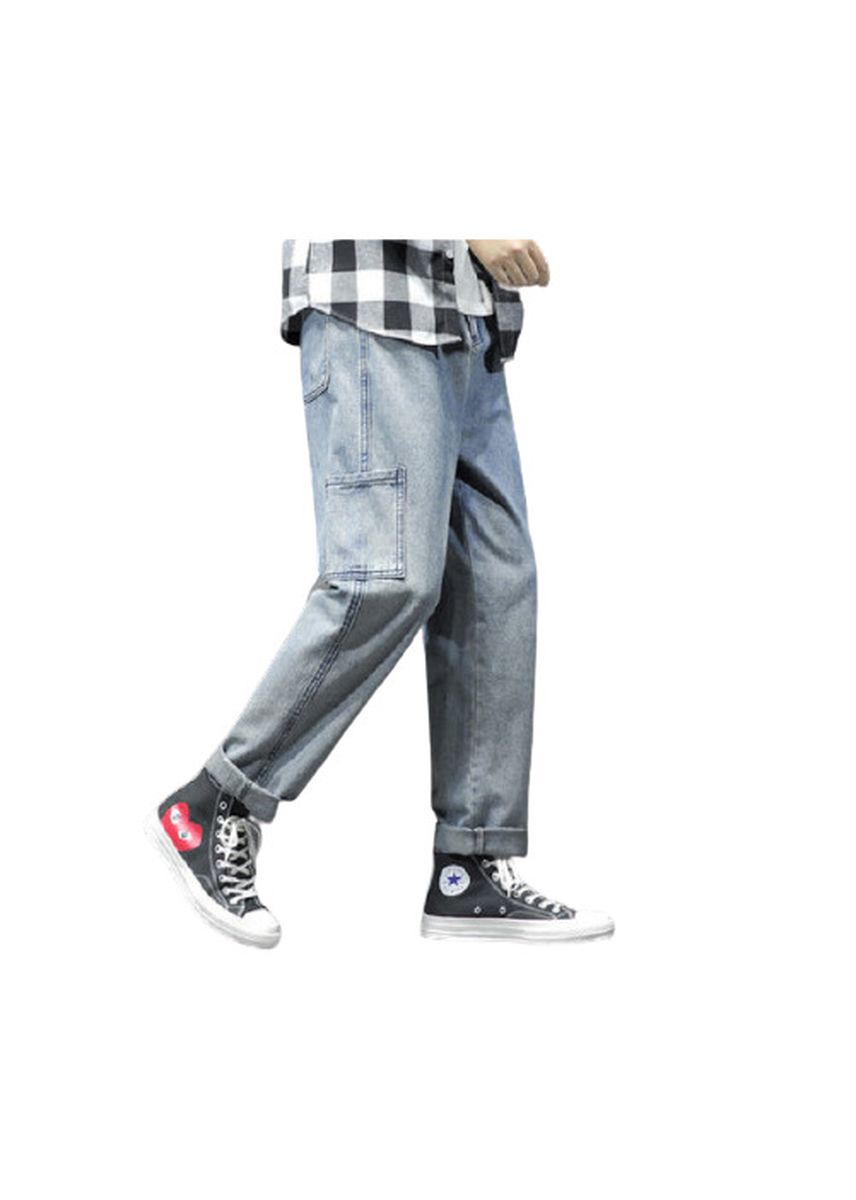 Blue color Jeans . Male Feet Stretch Cultivate Joker Jeans -