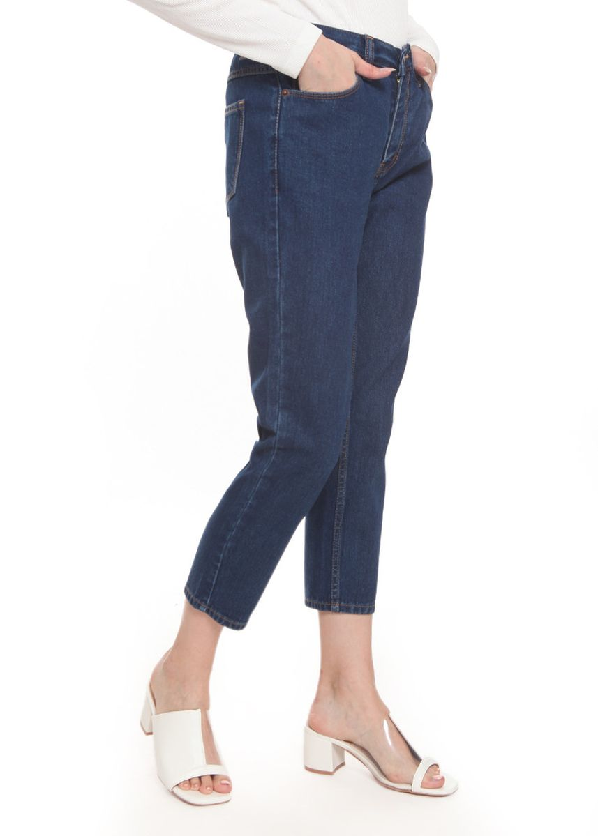 Navy color Jeans . 2nd Red Mom Jeans in Deep Blue MJ2002 -