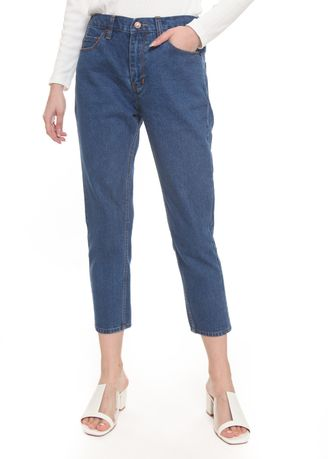 Blue color Jeans . 2nd Red Mom Jeans in Mid Blue MJ2003 -