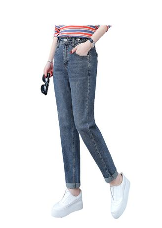 Light Blue color Jeans . Jin Yi Lai The Spring And Autumn Straight Pant -