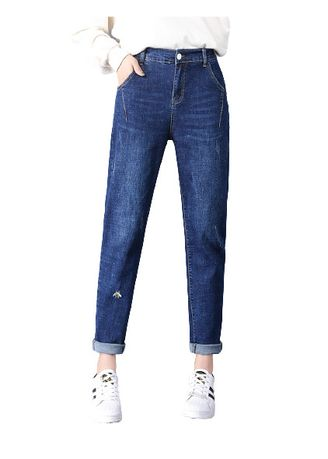 Light Blue color Jeans . Jin Yi Lai In Yards Elastic Waist Torre Denim Pants -