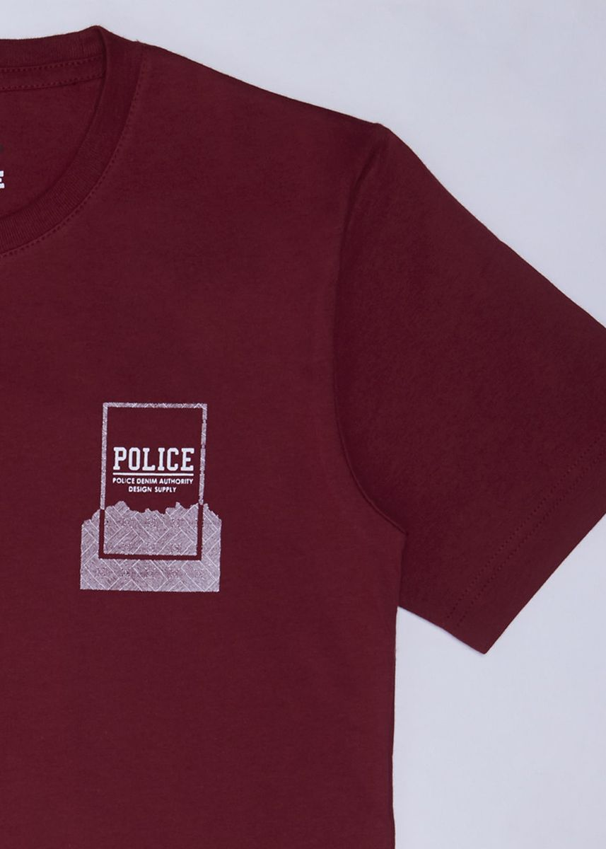 Maroon color Tops . POLICE Kids Tshirt Cotton Combed Pria  -