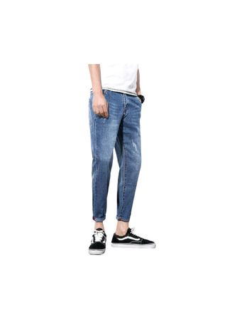 Blue color Jeans . Blue The Men Foo Cultivate One's Jeans -