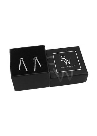 Silver color  . Silverworks Drop Bar Silver Stud Earrings with Zirconia Stones -