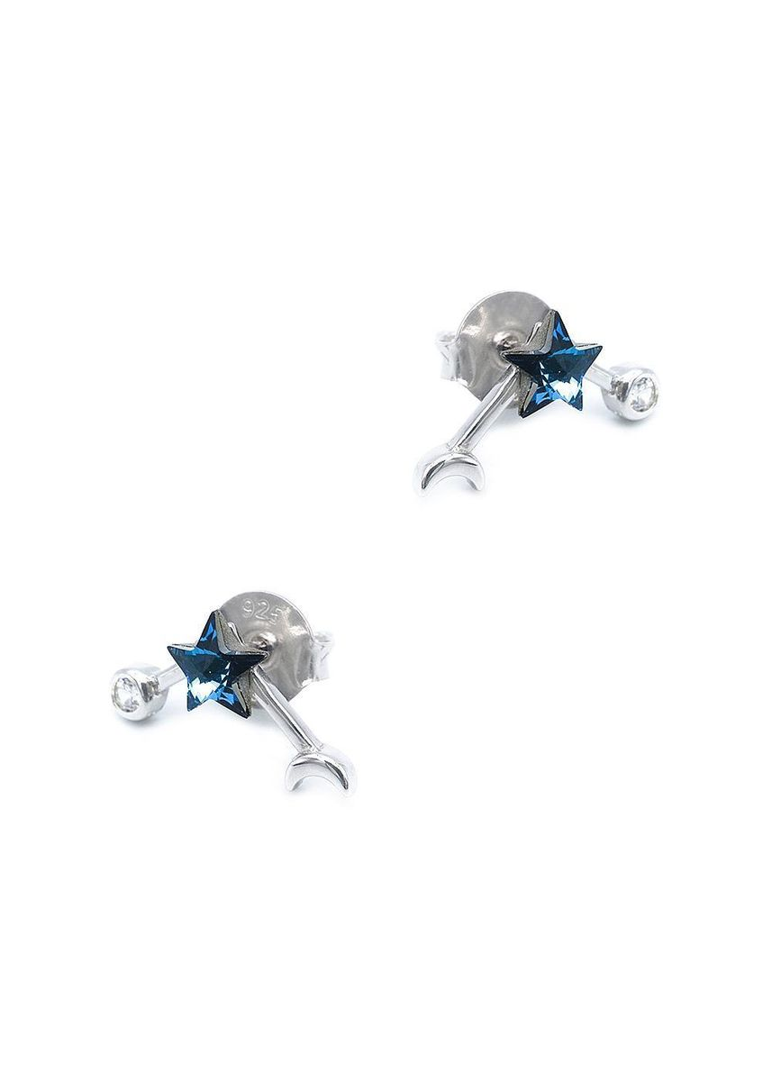Blue color  . Silverworks Blue Star, Circle and Moon Stud Earrings with Zirconia Stones -