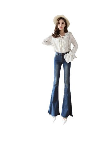 Light Blue color Jeans . Jin Yi Lai Tall Waist Flared Female Ins Wet Pants -