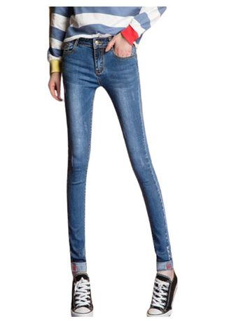 Blue color Jeans . Jin Yi Lai Light Blue Washed Tight Feet Pants -