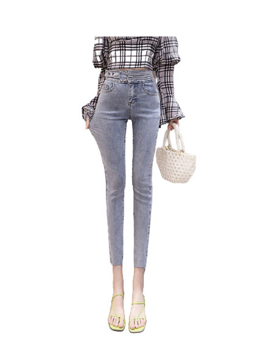 Light Blue color Jeans . Jin Yi Lai Temperament Feet Tight Fashion Lady Pants -