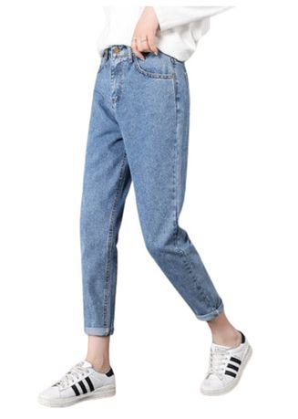 Blue color Jeans . Jin Yi Lai The Blue Harlan Han Edition Relaxed Jeans -
