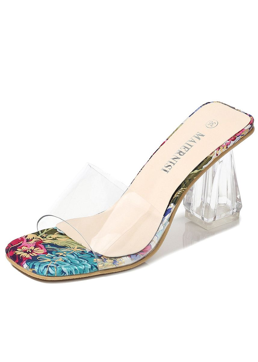 แดง color รองเท้าส้นสูง . European and American Transparent Large Size High Heels -