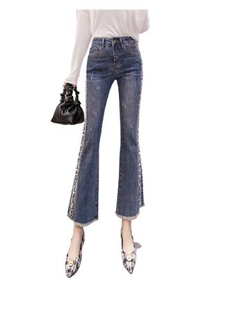 Light Blue color Jeans . Jin Yi Lai Small Table Since The Waist Jeans -