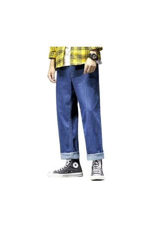 Blue color Jeans . Blue The New Jeans Male Han Edition Foot Leisure -