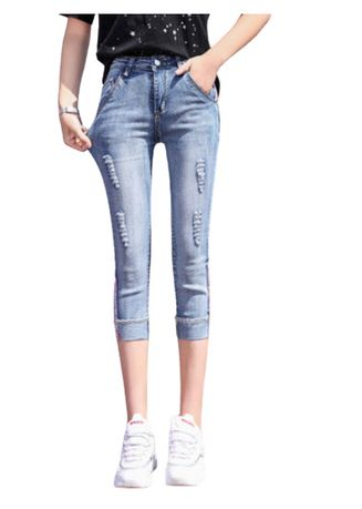 Blue color Jeans . Jin Yi Lai Light Blue DistressedJeans -