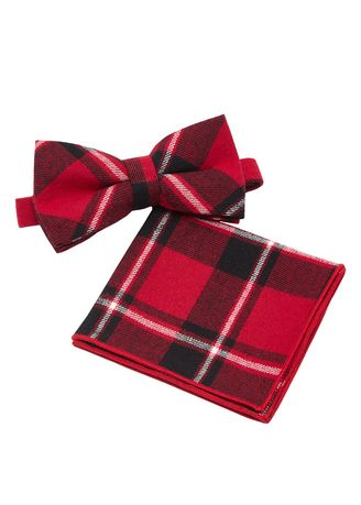Red color Ties . IDENTITY Mens Cotton Bowtie and Pocket Square Set - 02 -