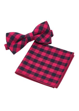 Pink color Ties . IDENTITY Mens Cotton Bowtie and Pocket Square Set - 11 -