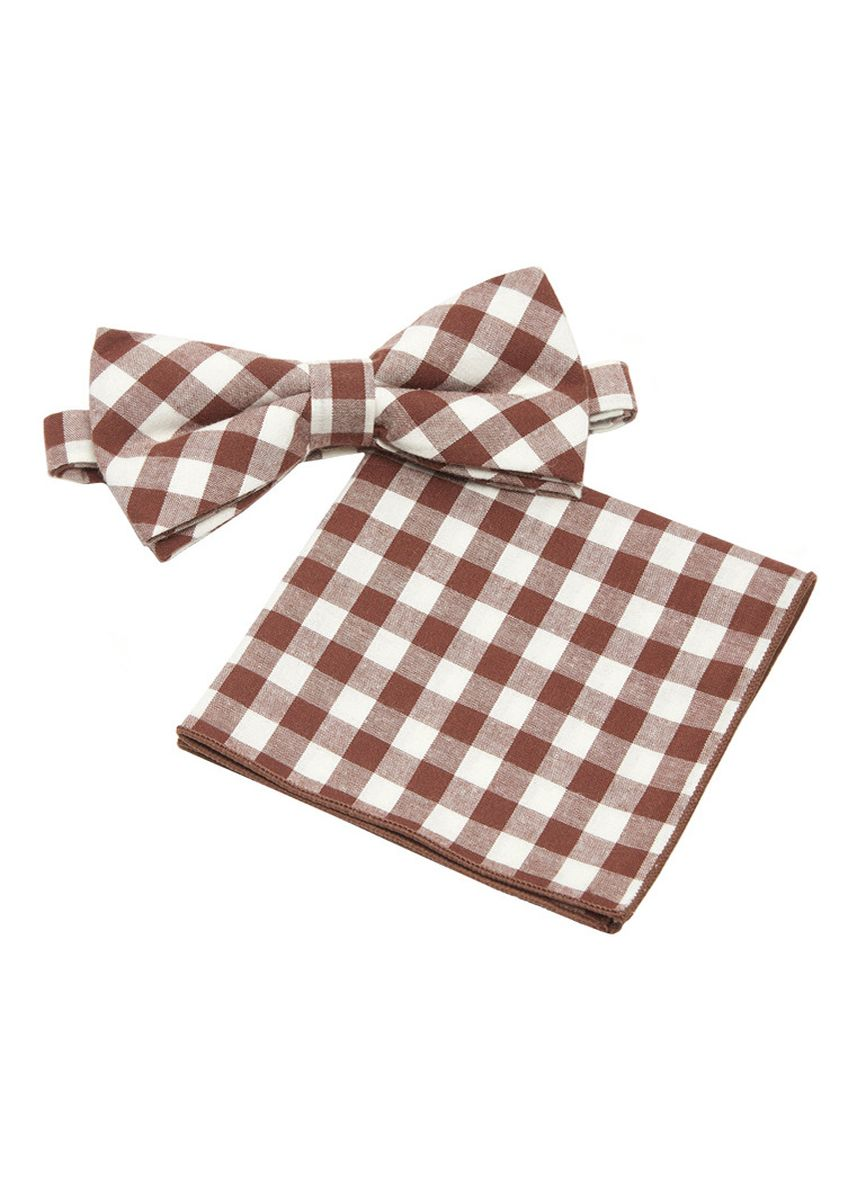 Brown color Ties . IDENTITY Mens Cotton Bowtie and Pocket Square Set - 16 -