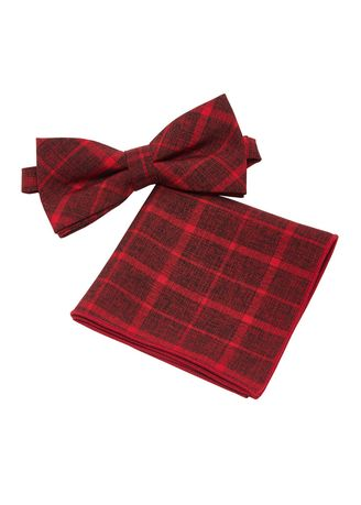 Red color Ties . IDENTITY Mens Cotton Bowtie and Pocket Square Set - 17 -
