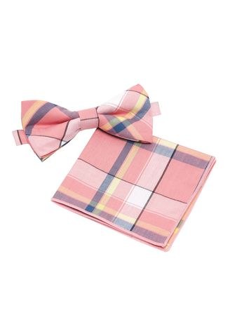 Pink color Ties . IDENTITY Mens Cotton Bowtie and Pocket Square Set - 19 -