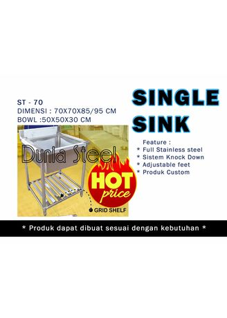 Tidak Berwarna color Mesin Pencuci Piring . Single sink ST-70 (custom) - sistem knock down -