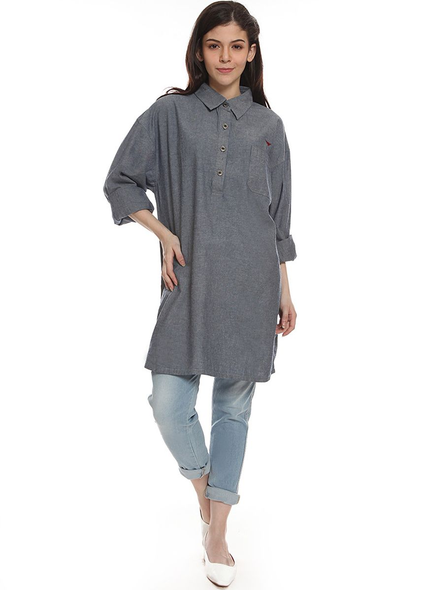 Grey color Tops and Tunics . 2nd Red Tunic Denim Batwing Sleeve OS2018 -