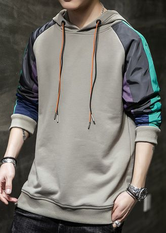 เทา color เสื้อวอร์ม . Casual Korean Sports Men's Hooded Sweatshirts -