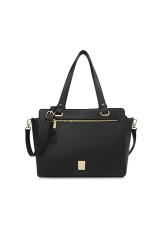 Black color Tote Bags . Tas Bahu Les Catino New York Bowery Tote Solid Black -