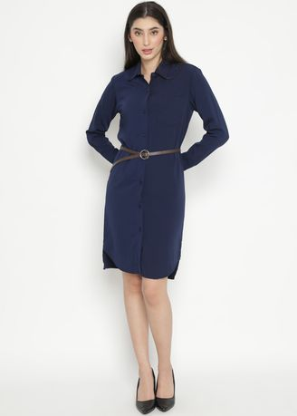 Navy color Dresses . MINEOLA Basic Button Front Long Sleeve Dress -