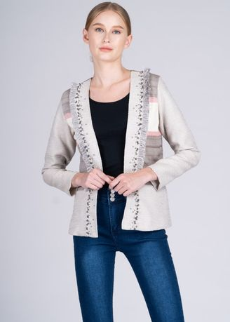 Multi color Jackets . Dayang Hip Jacket in Marawi Contemp. Weave in Khaki, Ecru and Red -