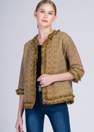 Multi color Jackets . Dayang Hip 3/4 Jacket in Cam Sur Advance Weave in Mustard/Brown -