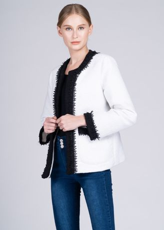 Multi color Jackets . Dayang Hip 3/4 Jacket in White Ilocos Inabel -