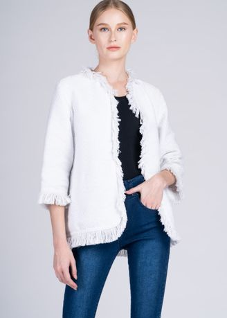 Multi color Jackets . Dayang Hip Jacket in White Diamond Ilocos Inabel -
