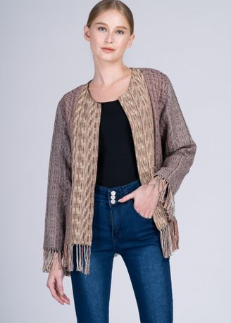 Multi color Jackets . Dayang Hip Jacket in Cam Sur Advance Weave Earth Patchwork -