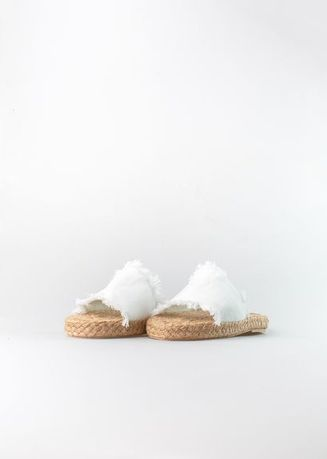 White color Heels . Sole Manille Distressed Strap Wedge  -