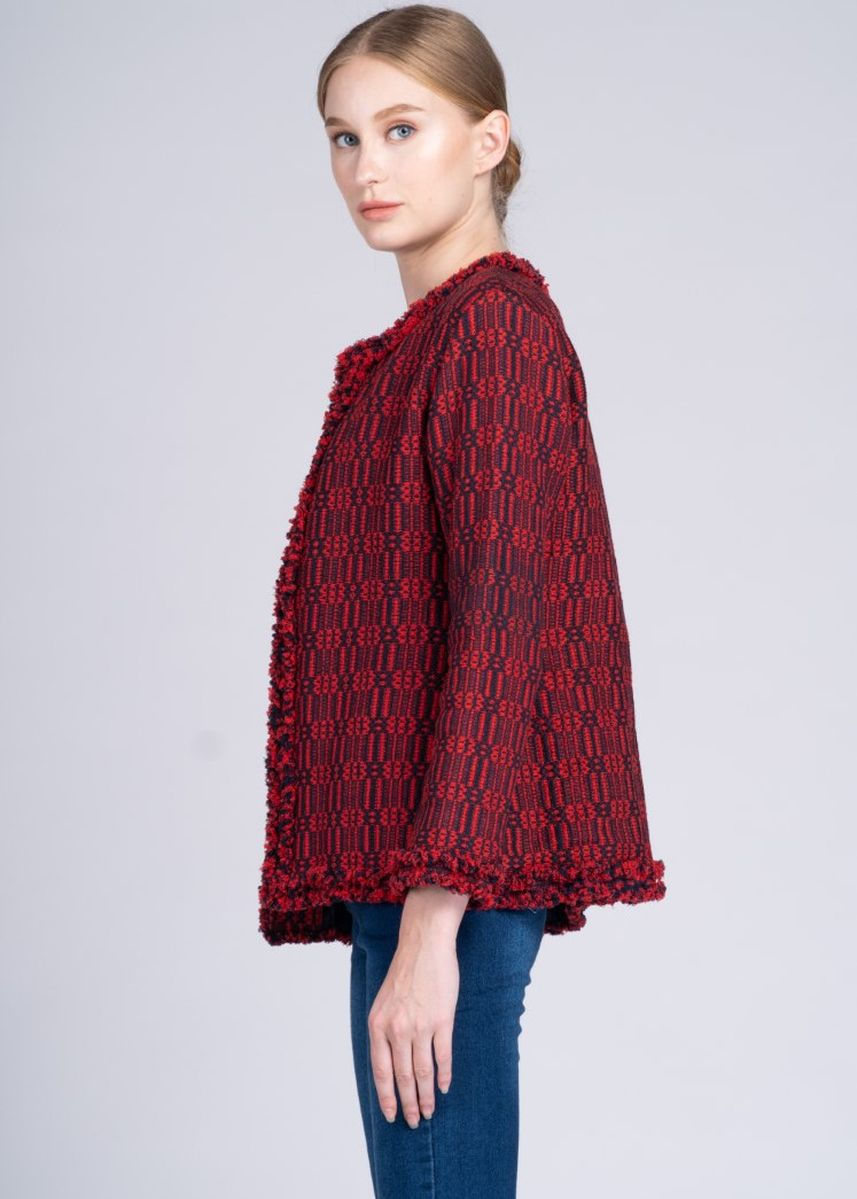 Multi color Jackets . Dayang Hip Jacket in Cam Sur Advance Weave in Black/Red -
