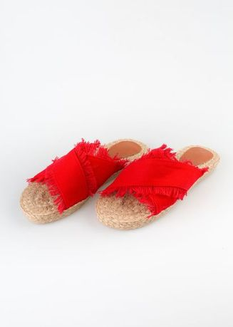 Red color Sandals and Slippers . Sole Manille Cross Distressed Sandals -