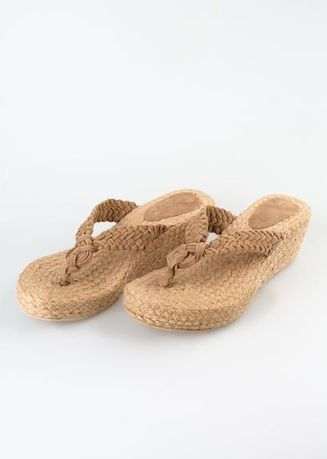 Tan color Sandals and Slippers . Sole Manille Japlala Braided Thong Wedge -