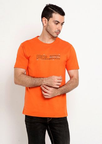 Orange color T-Shirts and Polos . POLICE Kaos Cotton Combed Pria -