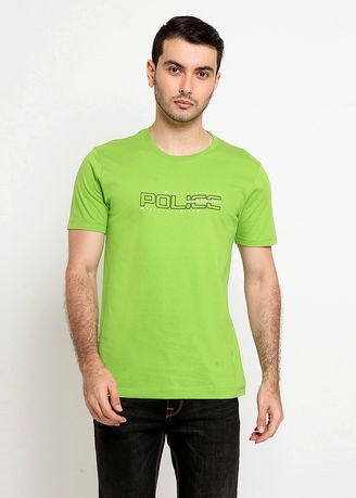Green color T-Shirts and Polos . POLICE Kaos Cotton Combed Pria -
