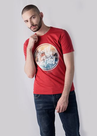 Merah color Kaus Oblong & Polo . 180 Degrees in Holiday T-shirt Pria -