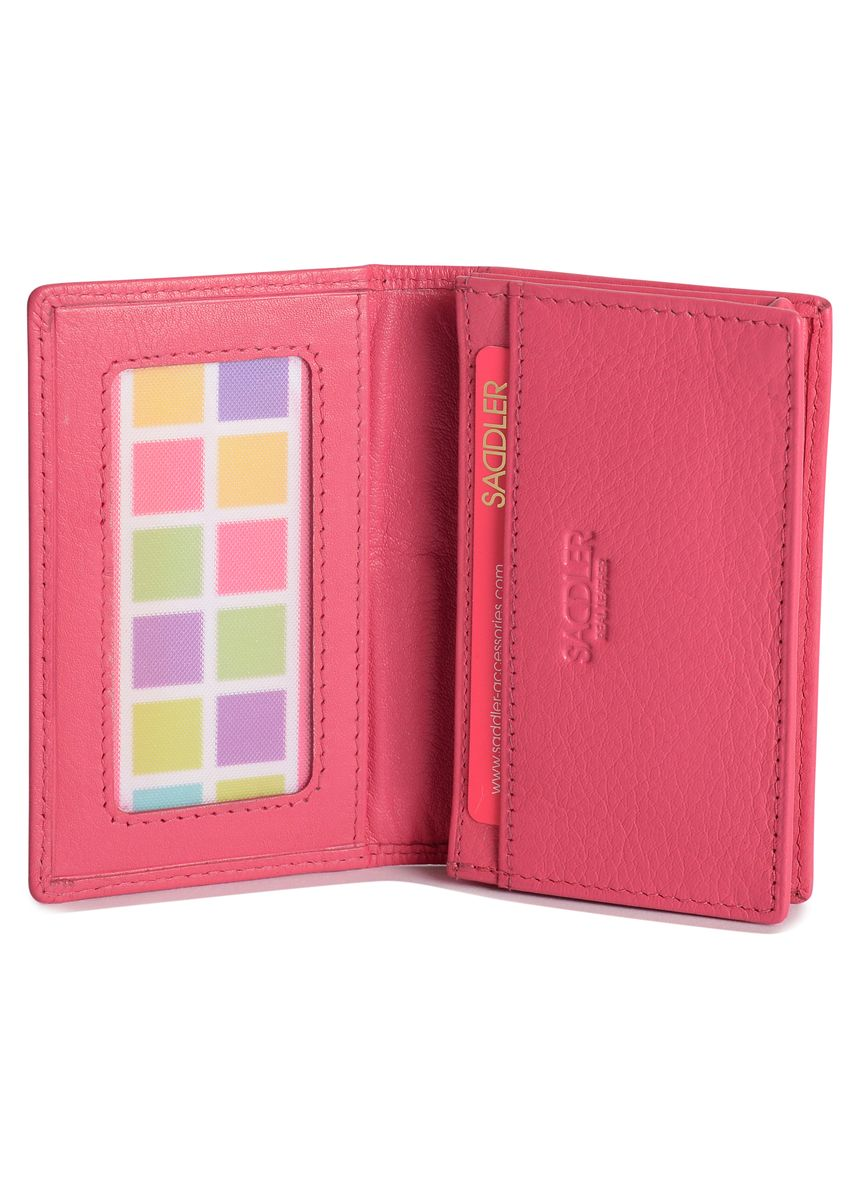 Pink color Wallets and Clutches . Saddler Women's Luxurious Real Leather Slim Card Holder -