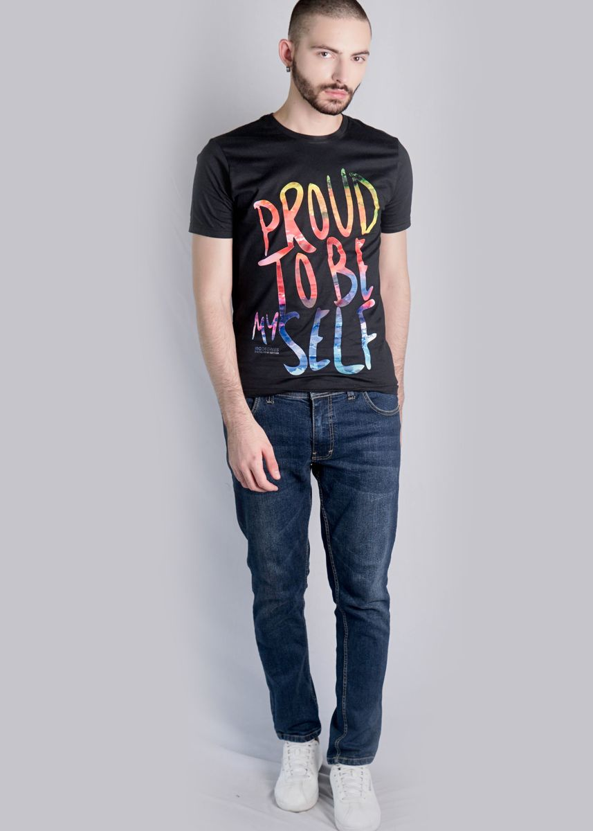 Black color T-Shirts and Polos . 180 Degrees PROUD BE MYSELF T-shirt Pria  -