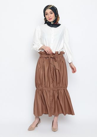 Brown color Bottoms . Rose Ruffle Skirt -