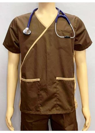 Brown color Casual Shirts . SCRUB SUIT Medical Doctor Nurse Uniform High quality made SS013 Polycotton JOGGER PANTS by Intal Garments Color Chocolate Brown-Tortilla Brown -