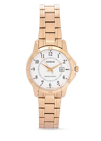 Gold color Analog . Casio Quartz Women's Stainless Strap Watch Ltp-V004G-7B -