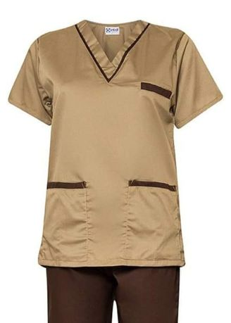 Brown color Tops and Tunics . SCRUB SUIT Medical Doctor Nurse Uniform High Quality Made SS02 Polycotton by Intal Garments Color Tortilla Brown - Chocolate Brown -