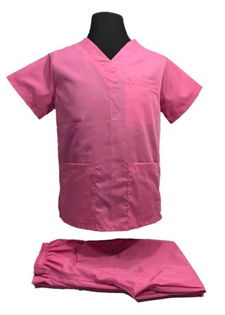 Pink color Tops and Tunics . SCRUB SUIT Medical Doctor Nurse Uniform High Quality Made SS01A Polycotton by Intal Garments Color Rose Pink -